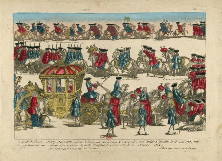 Marie Antoinette arrivant Versailles 16 mai 1770
