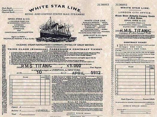 billet passager titanic 10 avril 1912