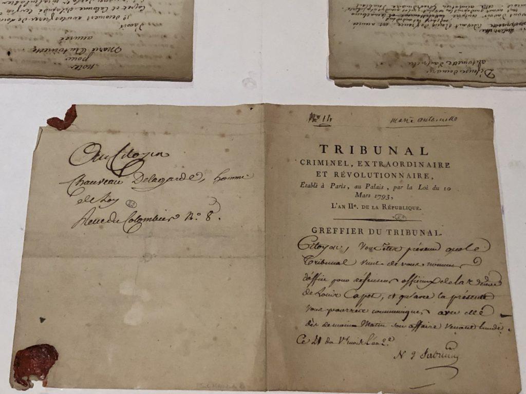 Acte condamnation à mort Marie-Antoinette