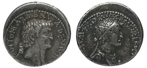 Cléopâtre et Marc Antoine : pièces de monnaie